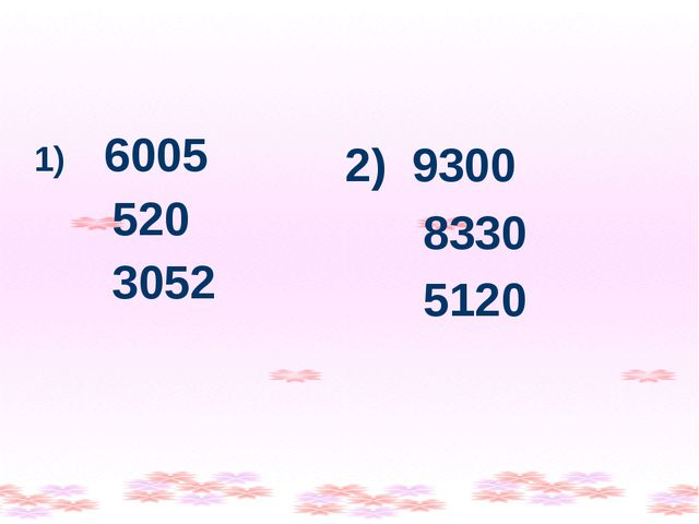 6005 520 3052 2) 9300 8330 5120