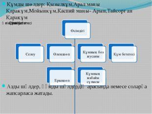 Құмды шөлдер: Қызылкұм,Арал маңы Қарақұм,Мойынқұм,Каспий маңы- Арын,Тайсорған
