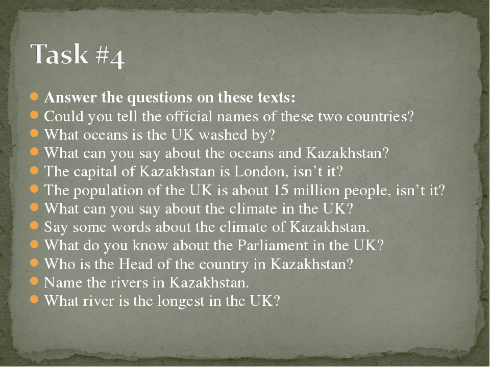 Answer the questions on these texts: Could you tell the official names of the...
