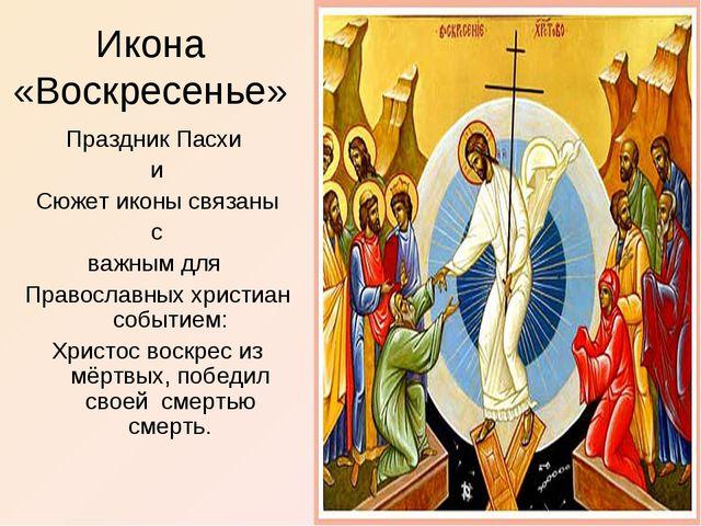 Икона «Воскресенье» Праздник Пасхи и Сюжет иконы связаны с важным для Правосл...
