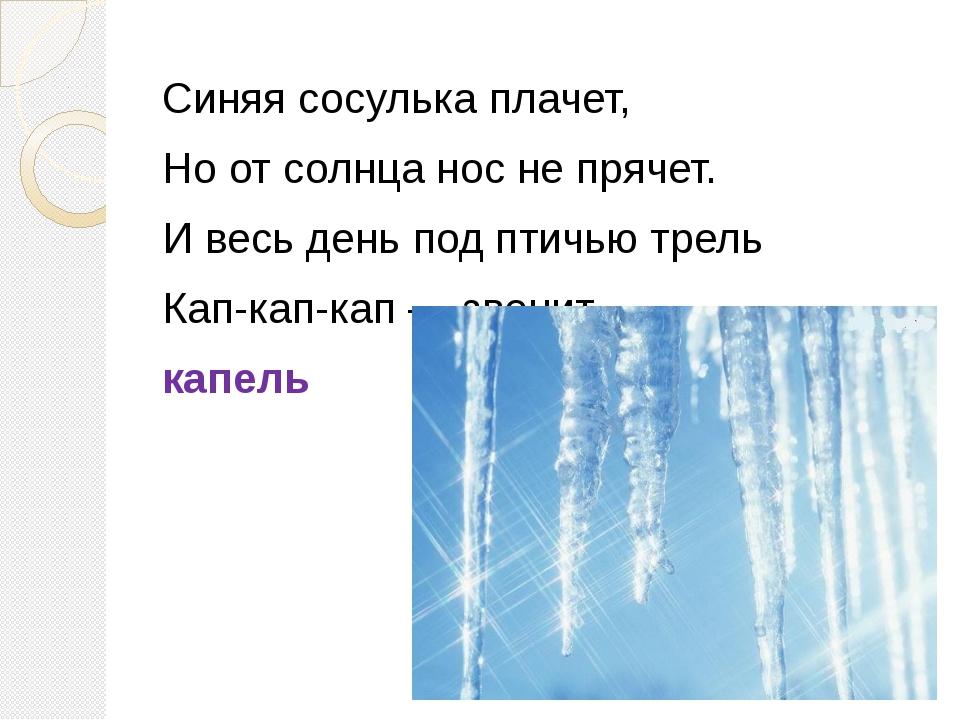 Синяя сосулька плачет, Но от солнца нос не прячет. И весь день под птичью тре...