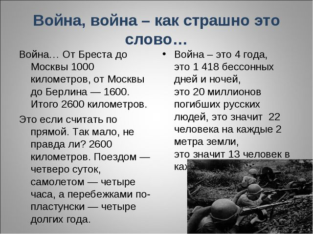 Война, война – как страшно это слово… Война… От Бреста до Москвы 1000 километ...