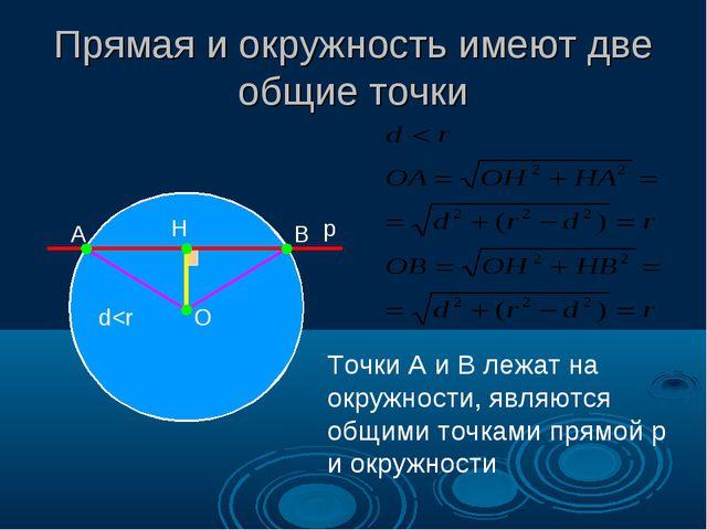 Прямая и окружность имеют две общие точки А В О Н p Точки А и В лежат на окру...