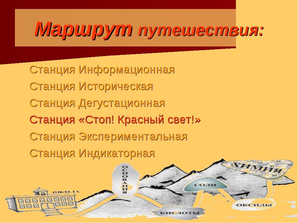 Маршрут путешествия: Станция Информационная Станция Историческая Станция Дегу...