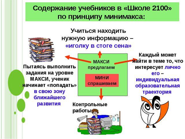 Содержание учебников в «Школе 2100» по принципу минимакса: Учиться находить...