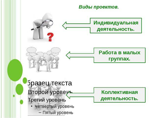 Виды проектов. Индивидуальная деятельность. Работа в малых группах. Коллектив...