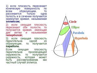 1) если плоскость пересекает коническую поверхность по всем образующим, то ра