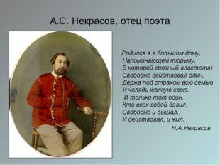 А.С. Некрасов, отец поэта Родился я в большом дому, Напоминающем тюрьму, В ко