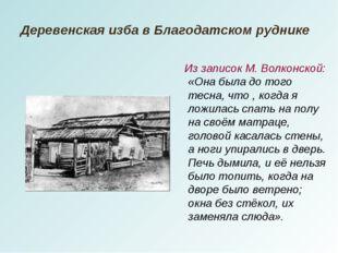 Деревенская изба в Благодатском руднике Из записок М. Волконской: «Она была