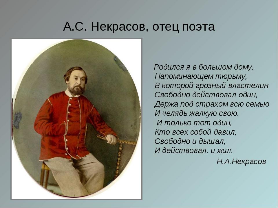 А.С. Некрасов, отец поэта Родился я в большом дому, Напоминающем тюрьму, В ко...