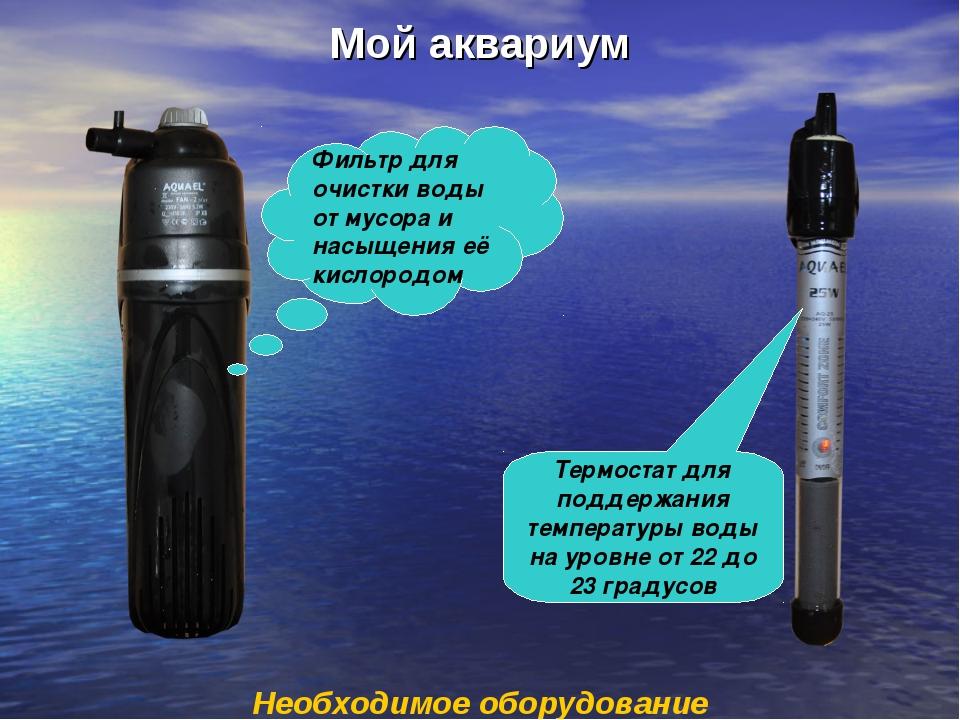 Мой аквариум Необходимое оборудование Фильтр для очистки воды от мусора и нас...
