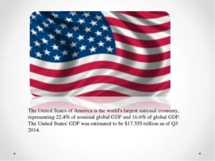The United States of America is the world's largest national economy, represe