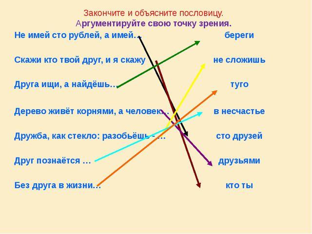 Закончите и объясните пословицу. Аргументируйте свою точку зрения. Не имей ст...
