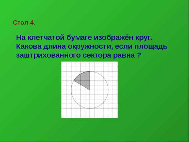 На клетчатой бумаге изображён круг. Какова длина окружности, если площадь заш...