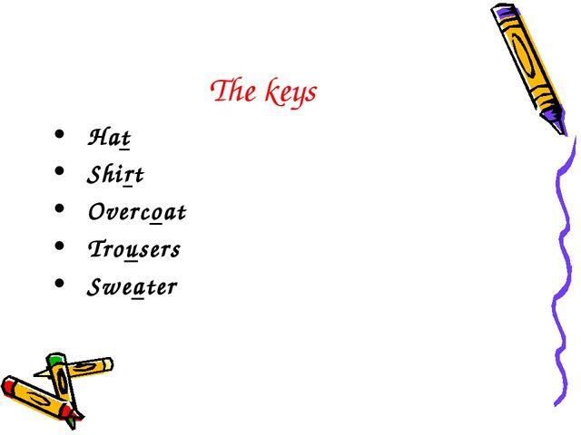The keys Hat Shirt Overcoat Trousers Sweater