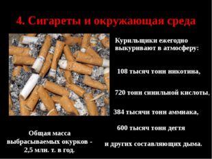 4. Сигареты и окружающая среда  Общая масса выбрасываемых окурков - 2,5 мл