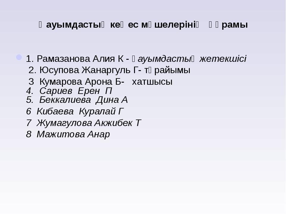 Қауымдастық кеңес мүшелерінің құрамы 1. Рамазанова Алия К - қауымдастық жетек...