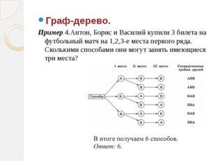 Граф-дерево. Пример 4.Антон, Борис и Василий купили 3 билета на футбольный ма