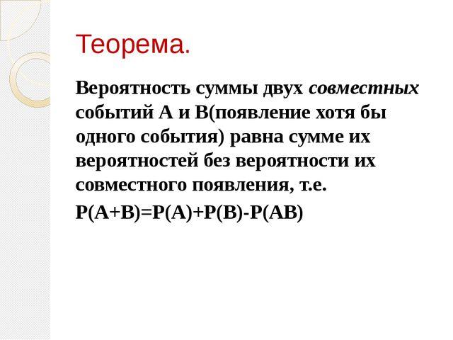 Теорема. Вероятность суммы двух совместных событий А и В(появление хотя бы од...