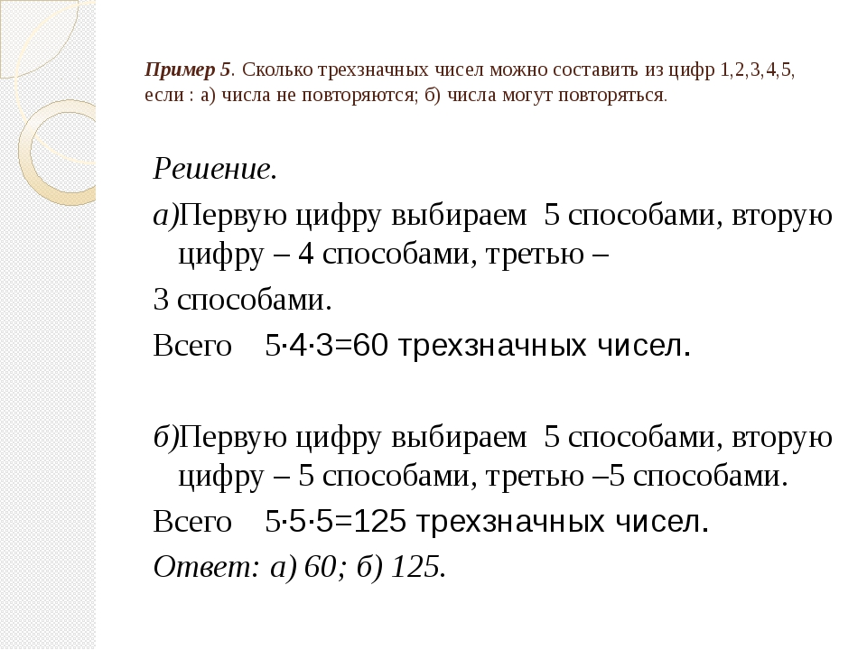 Пример 5. Сколько трехзначных чисел можно составить из цифр 1,2,3,4,5, если :...