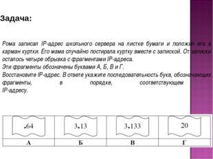 Рома записал IP-адрес школьного сервера на листке бумаги и положил его в карм
