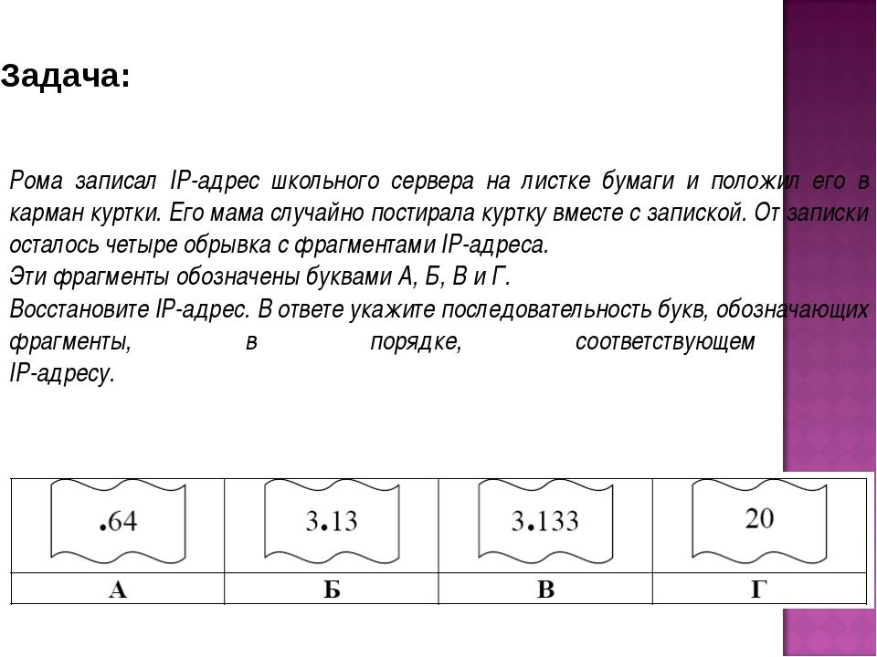 Рома записал IP-адрес школьного сервера на листке бумаги и положил его в карм...
