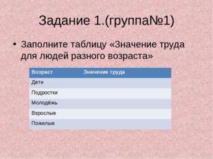 Задание 1.(группа№1) Заполните таблицу «Значение труда для людей разного возр
