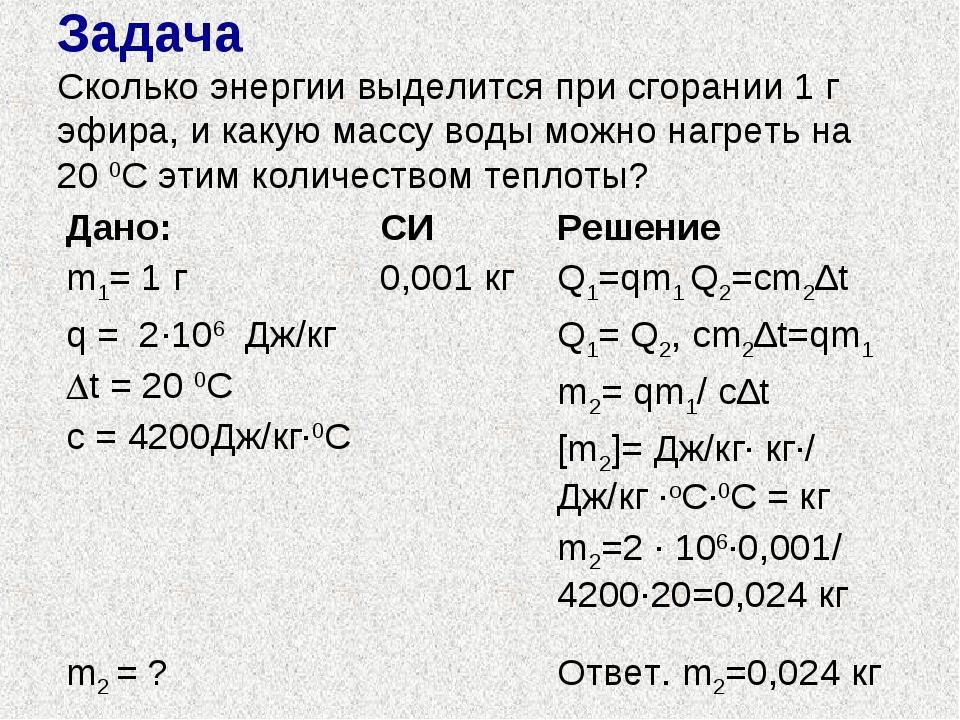 Задача Сколько энергии выделится при сгорании 1 г эфира, и какую массу воды м...