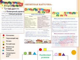«ВИЗИТНАЯ КАРТОЧКА» Математика Окружающий мир Музыка Русский язык Физическая
