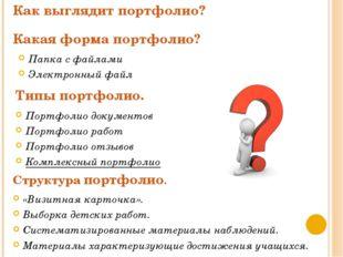 Как выглядит портфолио? Структура портфолио. Какая форма портфолио? Типы порт