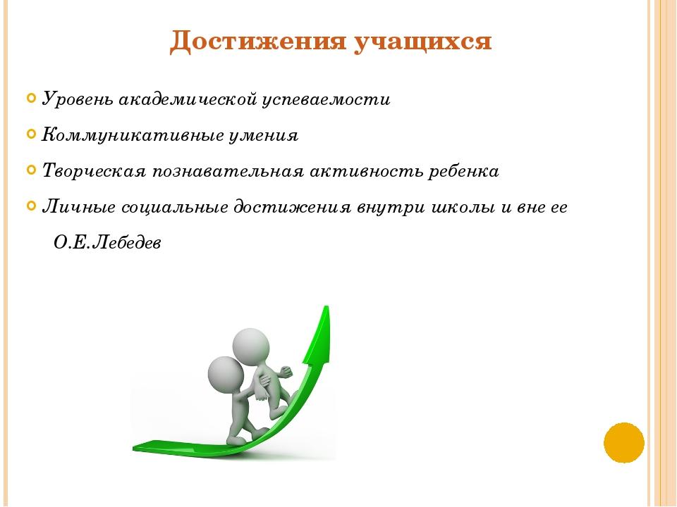 Достижения учащихся Уровень академической успеваемости Коммуникативные умения...