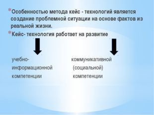 Особенностью метода кейс - технологий является создание проблемной ситуации