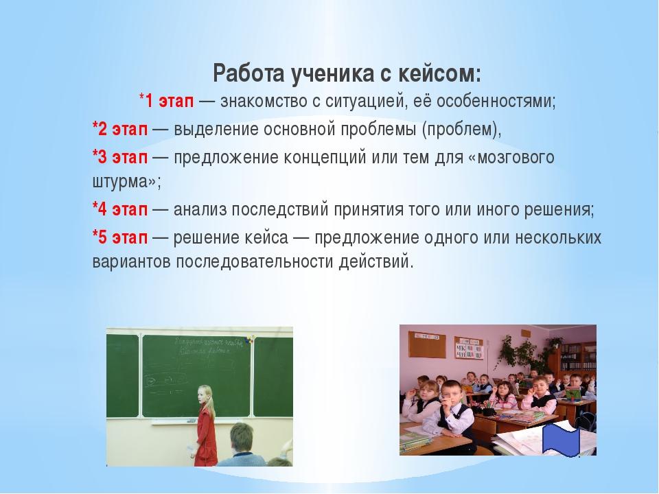 Работа ученика с кейсом: *1 этап — знакомство с ситуацией, её особенностями;...