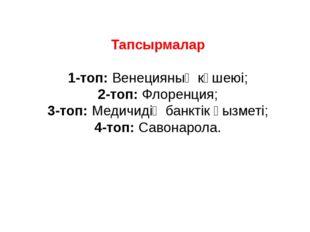 Тапсырмалар 1-топ: Венецияның күшеюі; 2-топ: Флоренция; 3-топ: Медичидің банк