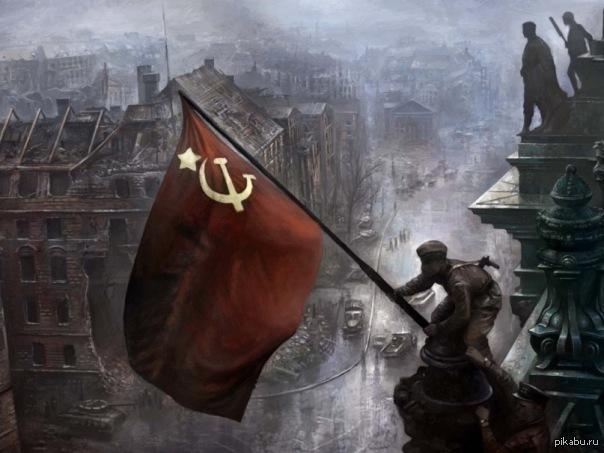 Скачать обои Флаг над Рейхстагом (СССР, 9 мая, День Победы, Флаг, Победа) для рабочего стола 1366х768 (16:9) бесплатно, Обои Фла
