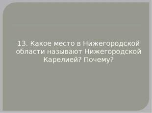 13. Какое место в Нижегородской области называют Нижегородской Карелией? Поч
