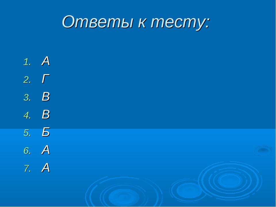Ответы к тесту: А Г В В Б А А