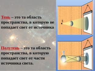 Тень – это та область пространства, в которую не попадает свет от источника