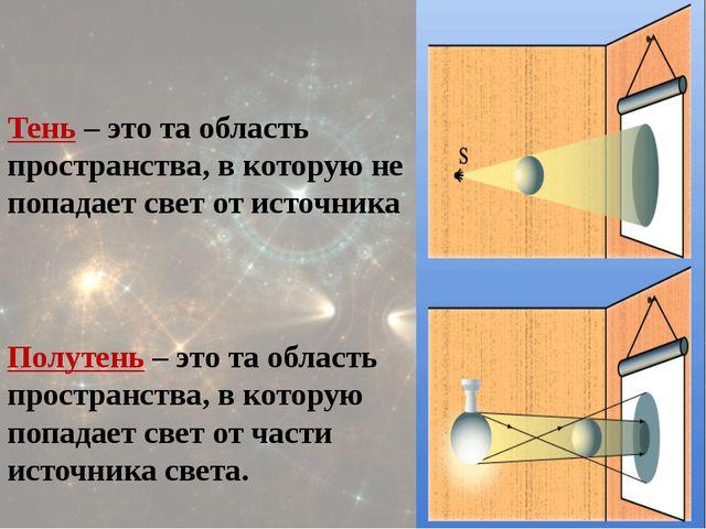Тень – это та область пространства, в которую не попадает свет от источника...