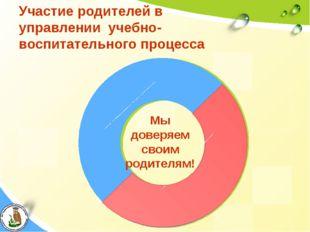 Участие родителей в управлении учебно-воспитательного процесса Мы доверяем св
