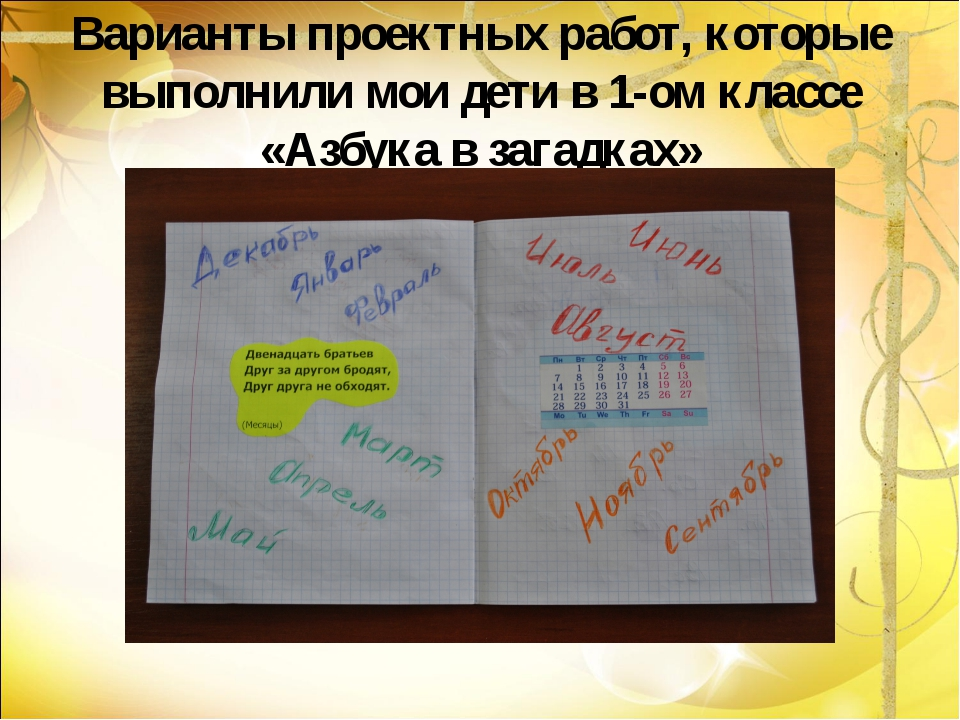 Варианты проектных работ, которые выполнили мои дети в 1-ом классе «Азбука в...