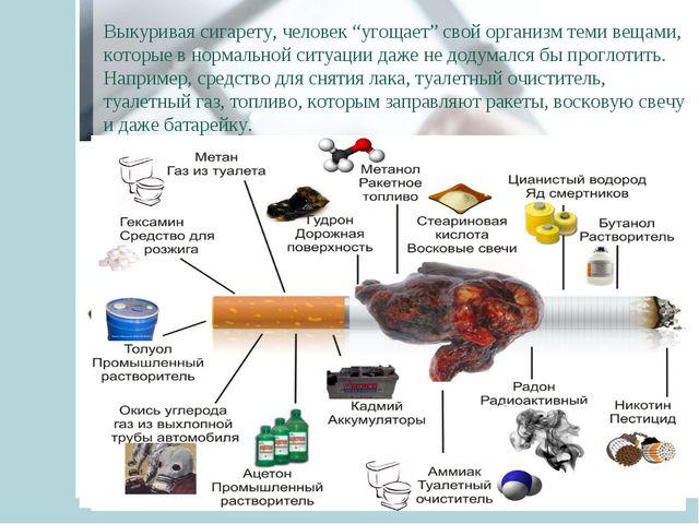 """Выкуривая сигарету, человек """"угощает"""" свой организм теми вещами, которые в но..."""