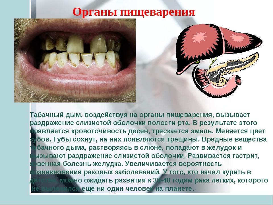 Табачный дым, воздействуя на органы пищеварения, вызывает раздражение слизист...
