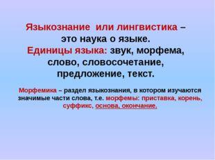 Языкознание или лингвистика – это наука о языке. Единицы языка: звук, морфема