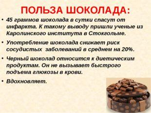 ПОЛЬЗА ШОКОЛАДА: 45 граммов шоколада в сутки спасут от инфаркта. К такому выв