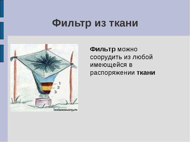 Фильтр из ткани Фильтр можно соорудить из любой имеющейся в распоряжении ткани