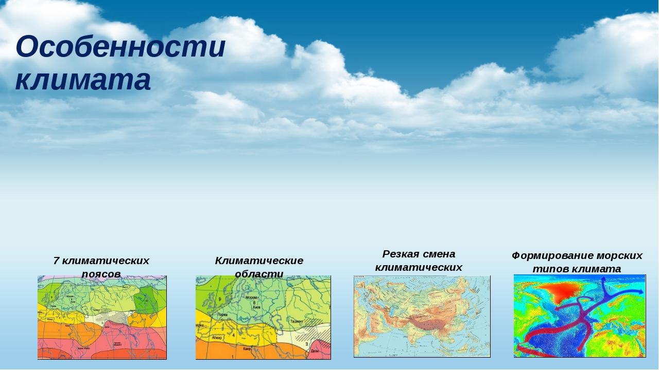 Особенности климата 7 климатических поясов Климатические области Резкая смена...