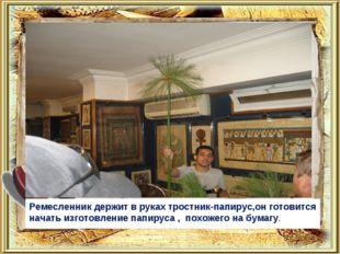 Ремесленник держит в руках тростник-папирус,он готовится начать изготовление