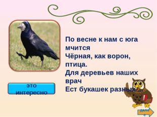 далее По весне к нам с юга мчится Чёрная, как ворон, птица. Для деревьев наши