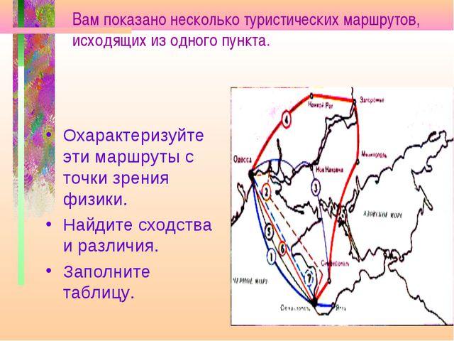 Вам показано несколько туристических маршрутов, исходящих из одного пункта. О...